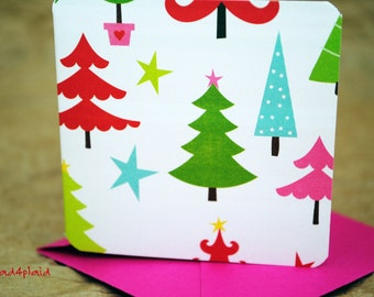 Blank Mini Holiday Card Set of 10, Bright Tree Graphic with Bold Stripe on the Inside, Bright Pink Envelopes, mad4plaid