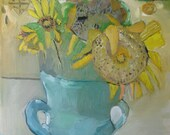 Four Sunflowers, Original oil painting on canvas
