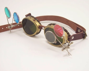Real Brass Steampunk Goggles Steam Punk Eyewear Glasses Victorian Cosplay LARP