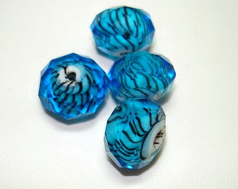 Blue with Black Striped Faceted Lampwork Rondelle Beads (Qty 4) - B2041