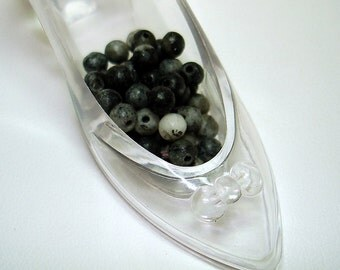 Black Grey Marble Round Stone Beads (Qty 49) - B2219