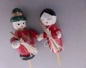 2 Vintage Miniature Wood Holiday Figures Cake Toppers Couple with Brooms  HCT119