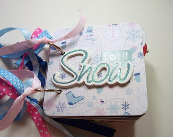 Let It Snow Mini Album, Mini Scrapbook, Brag Book, Mini Photo Album, Premade Album, Snow, Winter Album, Coaster Album, 4x4, Snow Fun,