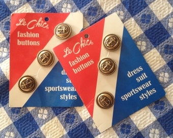 Set of 6 Gold Tone Metal Nautical Buttons on Cards