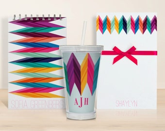 Stationary set with monogram tumbler - Zig Zag Chevron