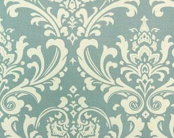 Ozbourne Damask Village Blue Natural fabric   Home Dec Cotton fabric   Premier Prints