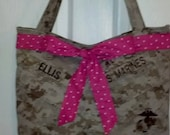 USMC MARPAT Desert Tote Bag with Bow made by USMC Approved Hobbyist No. 11651