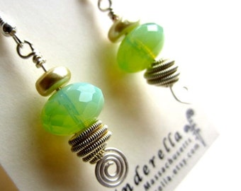 Wire and Beaded Dangle earrings in iridescent green-yellow and silver
