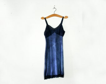 vintage 50s Upcycled Hand Dyed Stormy Day Navy Blue Lace Bust Full Slip Dress