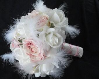 Realtouch Cream/white roses Blush Silk Roses Feathers Rhinestone Bridal Wedding Bouquet Set