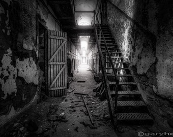 Cell Block Historical Ruins of Eastern State Penitentiary, Black and White, Fine Art Photography Print, signed