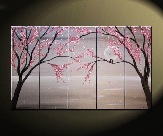 Love birds peinture paysage marin grand blanc et noir argent for Tableau noir et rose