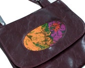 "Vegan Porthole Handbag, in Burgundy ""Pantone Marsala"" faux leather"