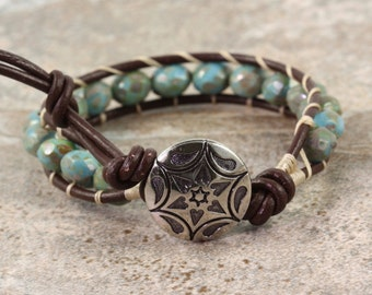 Brown Wrap Bracelet Western Bracelet Bohemian Jewelry Blue Beaded Bracelet Boho Jewelry Leather Wrap Bracelet for Women Hippie Jewelry