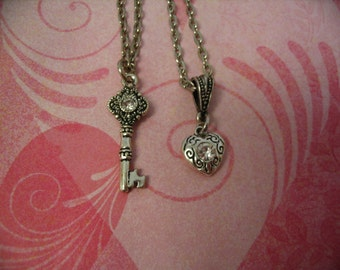 Sister Necklaces Heart and Key Charms for Sisters Friends or Mother Daughter