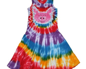 Pig Dress for Girls in Rainbow Tie Dye and a Hot Pink Pig