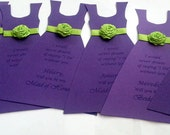Will you be my Bridesmaid Card Thank you for being my Bridesmaid Wedding party invitation purple plum apple green