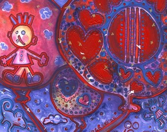 "Wooo...The Dawn Celebrates - 12""x12"" Art PRINT - red balloons float joyfully in blue purple sky magical creature clouds"