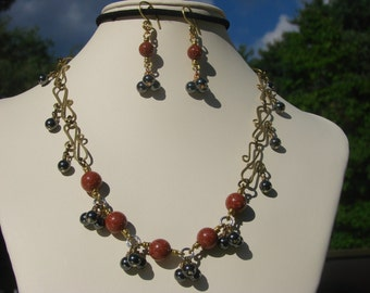 Autumn Goldstone and Hematite Statement Necklace and Earring set