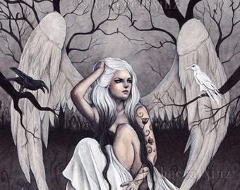 A Glimmer of Hope PRINT Angels Ravens Crows Dark Sad Gothic Black Gray White Emotion Depression Tattoos Ombre Hair Fantasy Art 3 SIZES