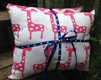 Pink chevron pillow, pink giraffe pillow, nursery pillow, pillow set, accent pillow set, accent pillows, set of pillows, childrens pillow