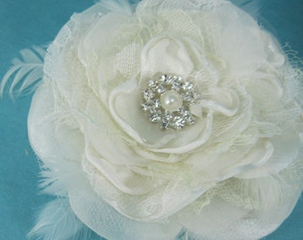 Bridal Hair rose, Ivory Lace, Organza Feather Rose Hair Clip F151 - bridal wedding hair accessory