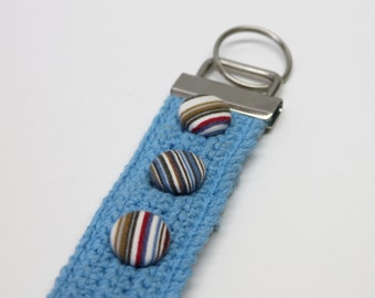 Turquoise crocheted keychain reclaimed cotton yarn handmade fabric covered buttons treasury item