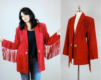 1980's red suede FRINGE JACKET / Vintage SUEDE fringe coat