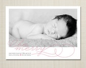 photo christmas holiday card birth announcement - merry swirl.