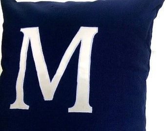 20% OFF Monogrammed Pillows 16 inches Navy Alphabet- big letter cushions- Letter Pillow Cover, Navy Blue Custom made Decorative Throw Pillow