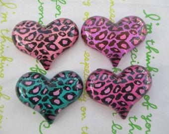 NEW item LEOPARD heart  cabochons 4pcs MIX