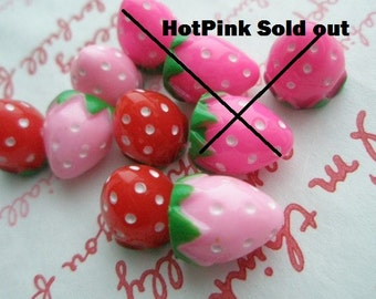 3D strawberry cabochons Set 10pcs (HOT PINK Sold out)