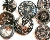Black glass BUTTONS, 8 Vintage & Victorian with silver luster.