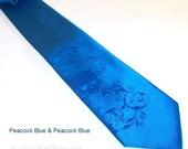 Mens skull tie blue on blue necktie RokGear design