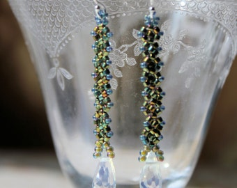 Blue green dangle Hand beaded earrings with crystal drops and Sterling silver ear wires