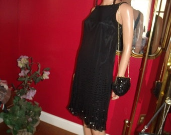 2-pc Vintage Purse VTG Flapper Dress  Art Deco  Black Partly Beaded Size 8