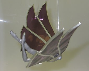 Stained Glass Fairy Flying Nymph with Purple Plum Wings - Made to Order (FAI010)