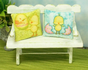 Bunnies Chicks Pillows Cushions Blue Yellow 1:12 Dollhouse Miniatures Artisan
