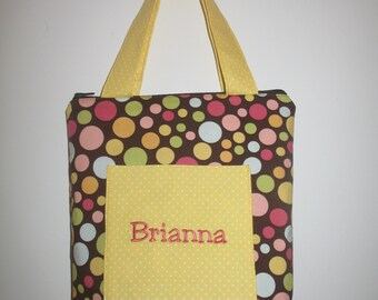 Personalized tote bag - brown dotted