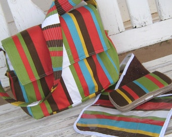 Diaper Bag- -Striped Brown, Green, Turquoise Blue, Yellow and White, Changing Mat and Wipe Case