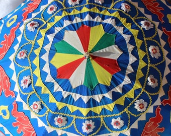 Set of 2 Vintage Made In India Indian Parasol Umbrella with Elephants Set of Two Red and Blue Ceremonial Cotton Applique