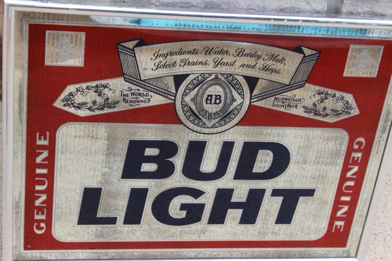 Vintage Bud Light Mirror Framed Bar Sign Or Large Tray Wall