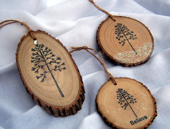 Items similar to 3 RUSTIC CHRISTMAS ORNAMENTS Woodland ...