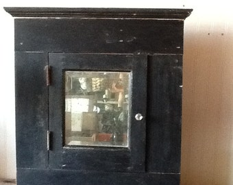 Antique Victorian Medicine Cabinet Beveled Mirror Door