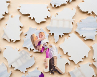 Puzzle Wedding Guest Book, 120 Wood Pieces, Use Your Photo