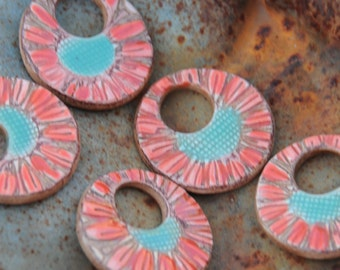 Pottery Washer Bead with Aqua and Red Flower