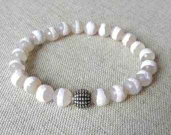 Gemstone Beaded Stretch Bracelet - Faceted White Stripe Fire Agate with Tibetan Silver Accent Bead