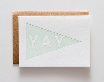 Yay Pennant Mint - Letterpress Congratulations Card - CC075