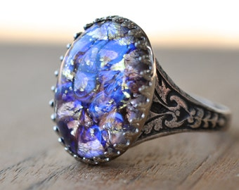 Purple Opal Ring - Vintage Glass Opal in Silver crown setting - October Birthday