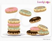 Baking donuts clip art, frosted doughnuts digital clip art set PNG (025)